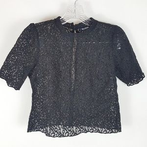 Tildon Nordstrom Lace Mock Neck Crop Top XS Black